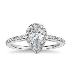 shaped engagement ring pear shaped halo diamond engagement ring in 14k white gold blue nile