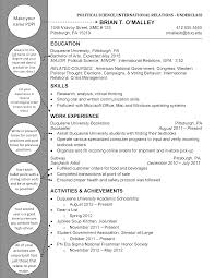 Scientist Resume Examples by Political Science International Relations Underclass Duquesne