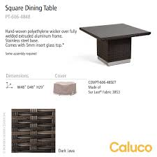 Patio Furniture Assembly Mirabella Square Dining Table Caluco Patio Furniture