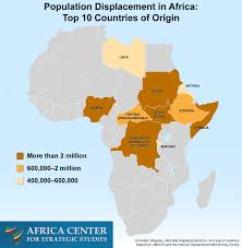 Africa Population Map by Population Displacement In Africa Top 10 Countries Of Origin