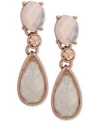 pink drop earrings klein gold tone pink drop earrings created for