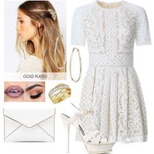 mini floral lace dress and gold hoop earrings polyvore