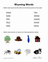 printable rhyming words rhyming words for worksheet education