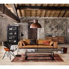 canap marron clair photo chic de canapé cuir marron clair dans décor style ranche