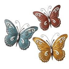 nature inspired metal butterfly decorative wall trio