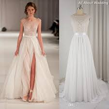 chiffon wedding dresses boat neck split chiffon wedding dresses bohemia lace beaded