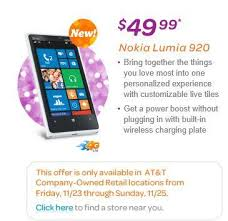 at t black friday at u0026t to offer nokia lumia 920 for 49 99 on contract on black friday
