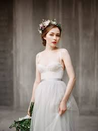 Informal Wedding Dresses Spaghetti Straps Low Back Grey Tulle Beautiful Informal Wedding