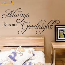 online get cheap wall stickers love quotes aliexpress com always kiss me goodnight loving quotes wall art decal removable bedroom wall sticker poster for rooms