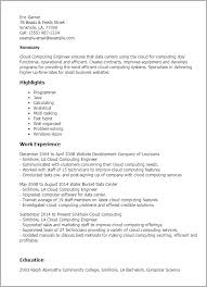 Examples Of The Perfect Resume by Professional Cloud Computing Engineer Templates To Showcase Your