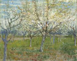 van gogh s blossoming orchard triptych
