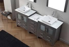 Bathroom Single Vanity by Virtu Usa Dior 78 Double Bathroom Vanity Set In Zebra Grey