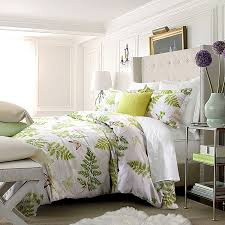 Tropical Duvet Covers Queen Lime Green Beige And White Rustic Style Tropical Fern Plant With