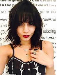 show me hair colors hudgens tries out new bangs and black hair color