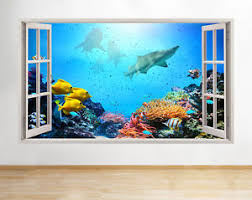 chambre aquarium a088 aquarium fish shark coral reef wall decal poster 3d