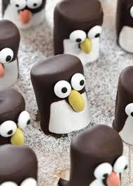 Christmas Party Treats - how to make easy marshmallow penguins cute christmas food idea