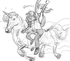 ellie and clementine riding a zombie unicorn drawing rypawz