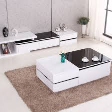 modern high gloss white coffee table tv stand set w walnut