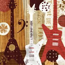 illustration style guitar music canvas wall art home decor