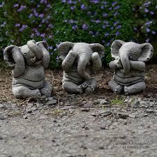 wise elephants garden ornament statue onefold uk