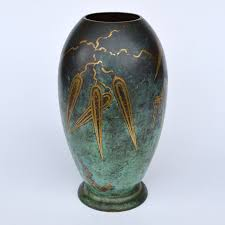 wmf ikora brass ornamental vase with mint green and golden