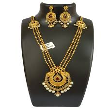 long gold necklace sets images Gold plated pink stone necklace set qwoos jewelery store jpg