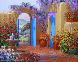 flower garden oil painting 014