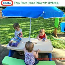 little tikes easy store picnic table little tikes easy store picnic table with umbrella kids bench