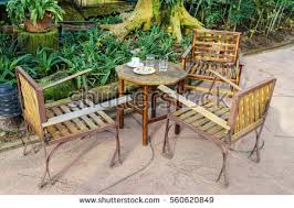 German Beer Garden Table by German Beer Garden Chairs Tables Sunshades Stock Photo 109635473