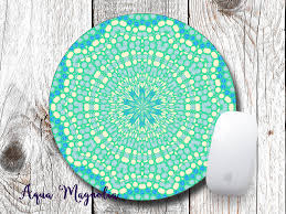 aqua blue desk accessories kaleidoscope blue green yellow design round mouse pad desk