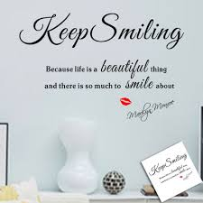 keep smiling marilyn monroe quote wall decal wall sticker amazon keep smiling marilyn monroe quote wall decal wall sticker amazon co uk baby