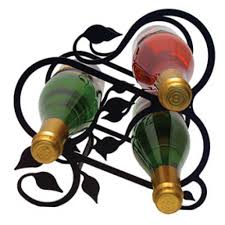 bottle leaf motif wrought iron wine rack