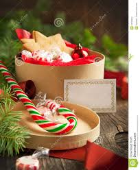 christmas gift boxes with cookies and candy stock images image