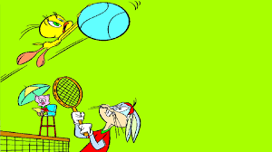 tweety bird catch a flying tennis ball looney tunes coloring