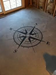 wood compass wall compass floor stencil with latitude and longitude coordinates