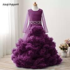 2017 new kids dresses royal cloud ball gown flowers dresses