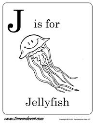 j is for jellyfish letter j coloring page pdf
