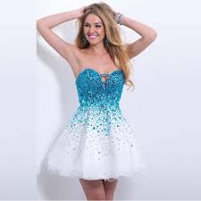 graduation dresses 8th grade blue shining prom dresses sweetheart rhinestone 8th
