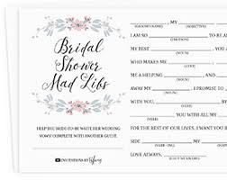 bridal shower mad libs funny shower game write your vows