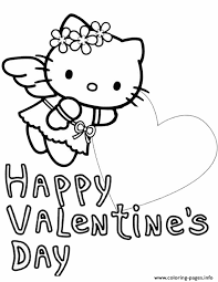 kitty big heart valentines coloring pages printable