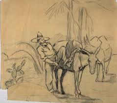 sketch of a man saddling pack burros arthur putnam famsf