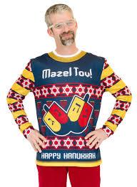 happy hanukkah sweater mazel tov hanukkah sweater faux real