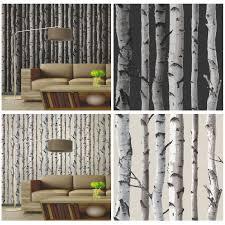 fine decor birch trees wallpaper 10m black u0026 silver new ebay