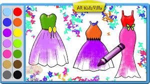 learn colors for kids and color barbie dresses coloring page pt