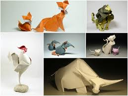 amazing curved origami animal created by using wet folding