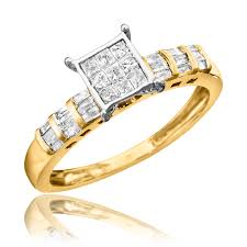 white gold engagement ring yellow gold wedding band 3 4 carat diamond bridal wedding ring set 10k yellow gold
