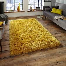 Rugs And Curtains Polar Pl95 Shaggy Rugs In Yellow Free Uk Delivery The Rug