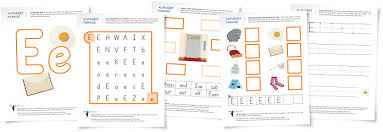 alphabet parade letter e worksheets and activity suggestions