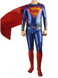 man of steel shiny metallic zentai superman costume with red