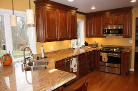 Cherry Wood Kitchen Cabinets With Black Granite Kitchen Room Simple Wood Oakwoodqh